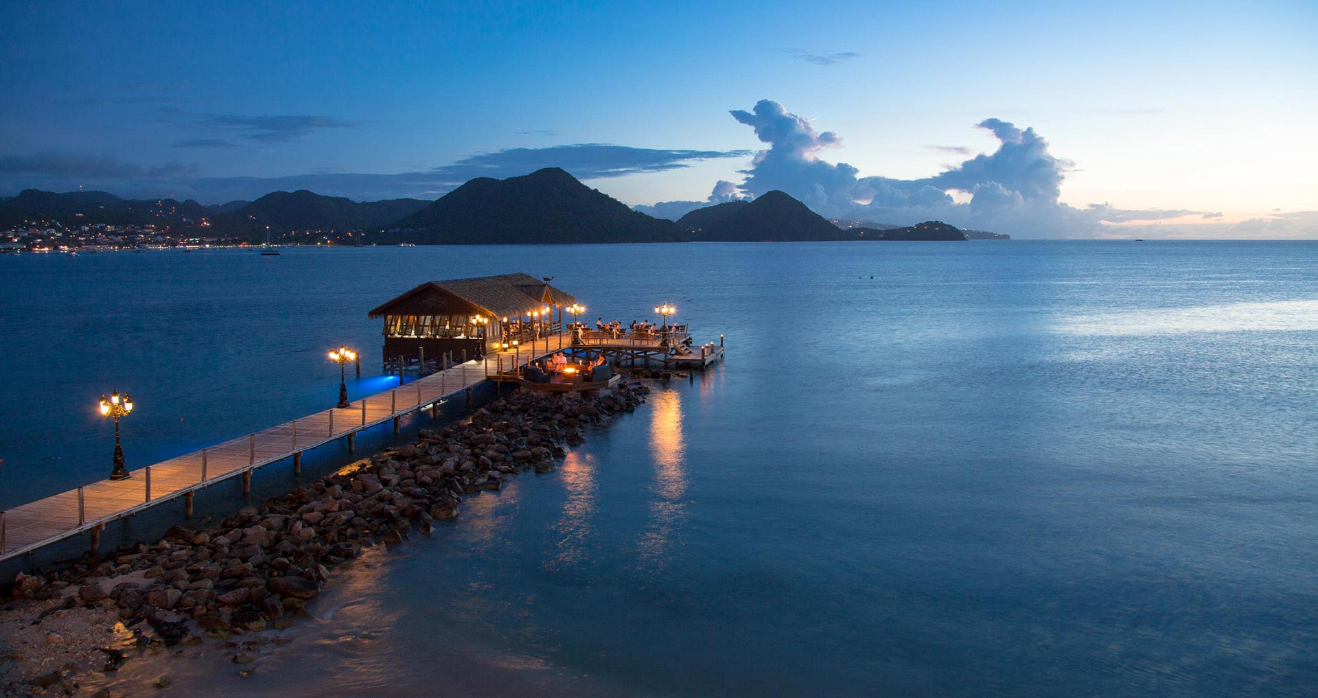 Sandals Grande St. Lucian at night