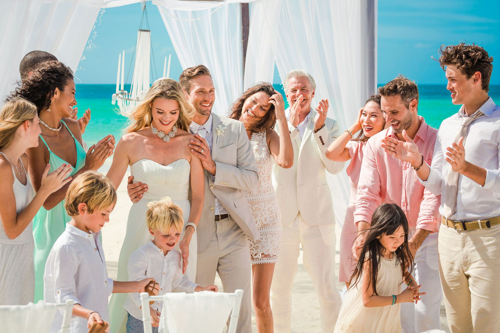 Beach wedding with kids