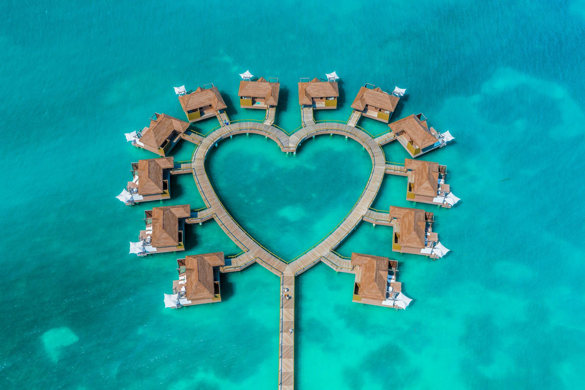 Romantic resort overwater bungalows