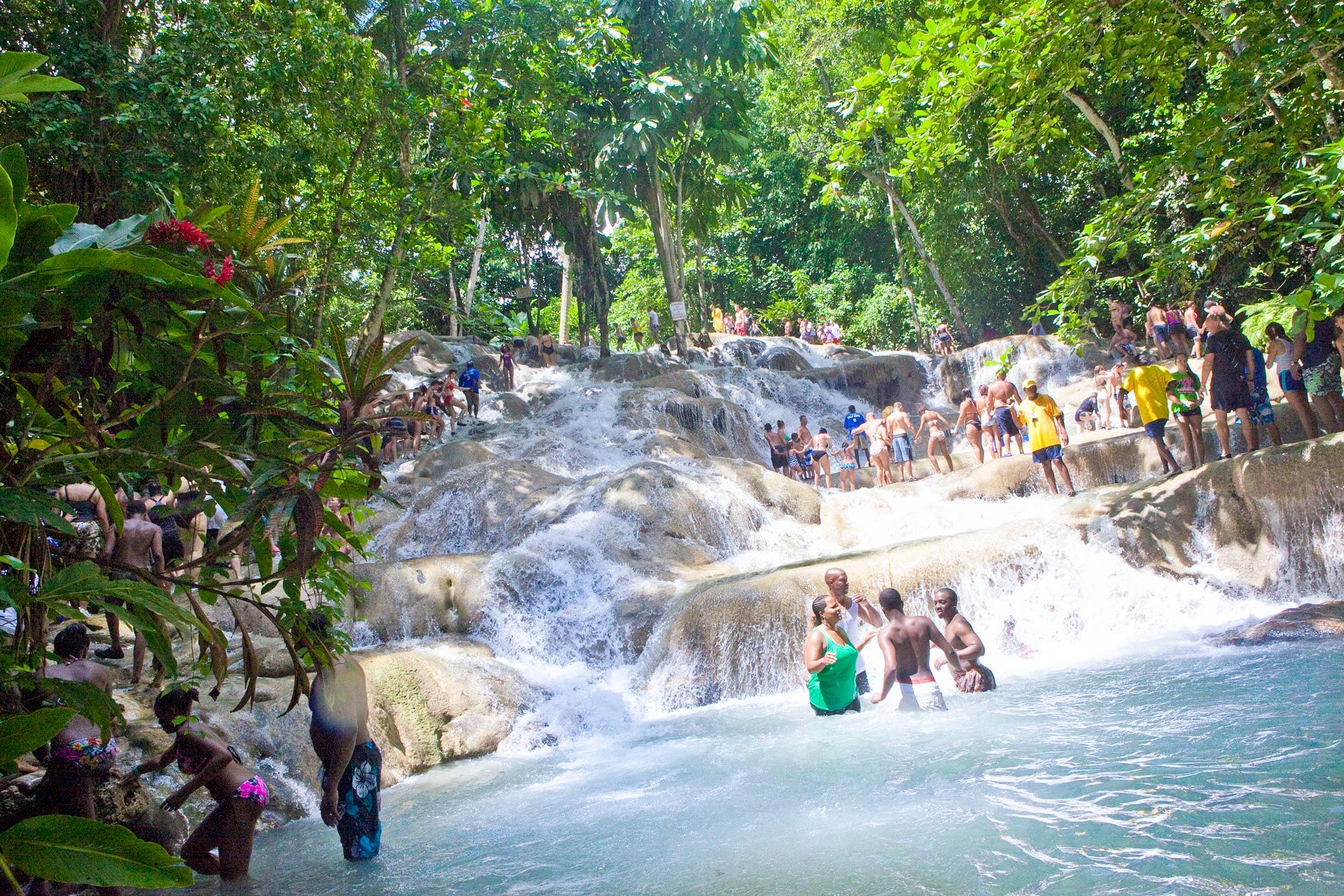 Crowds at Dunn's River Falls Jamaica