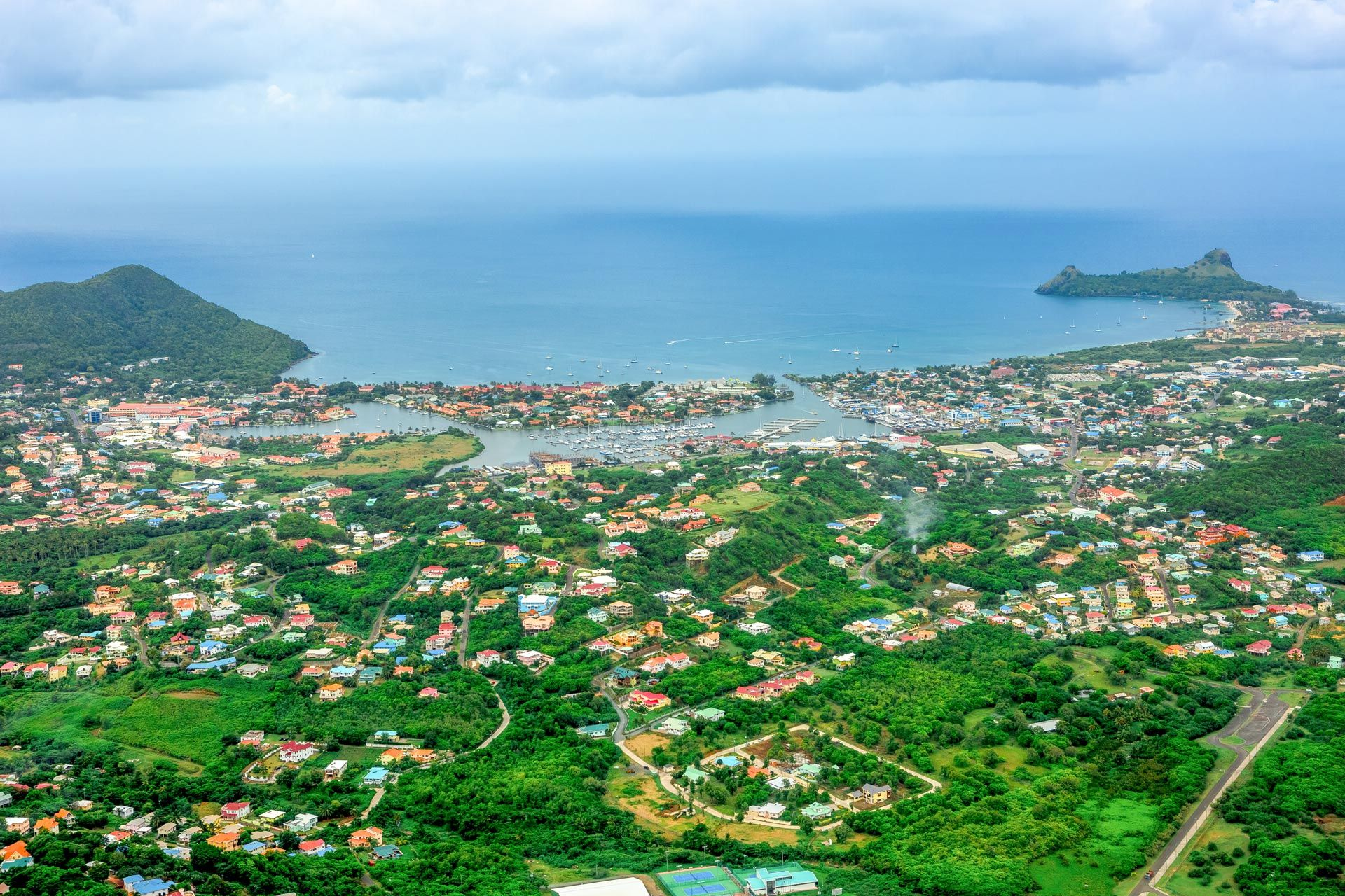 Aerial shot of St. Lucia Town