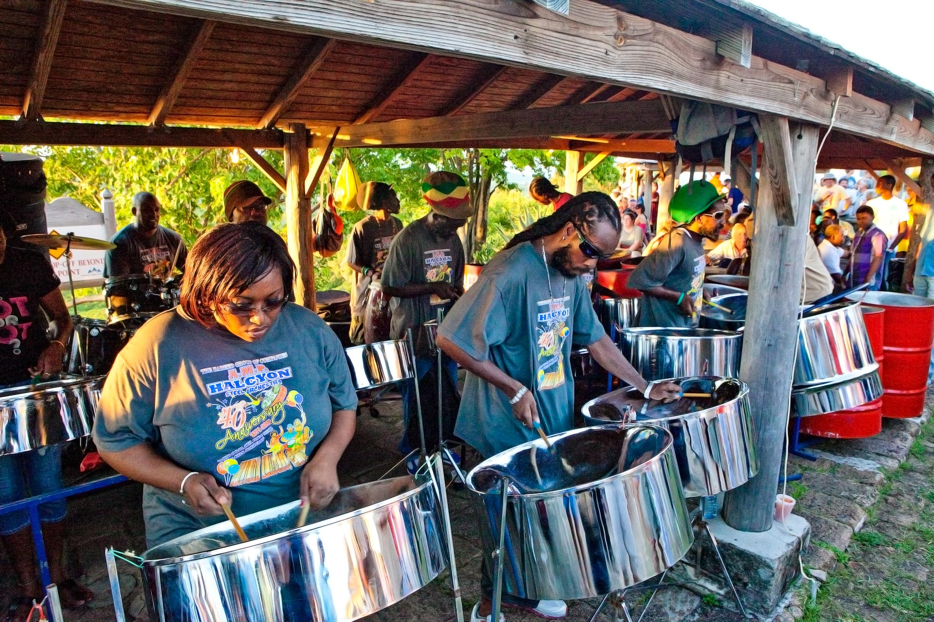 A group playing steel drums