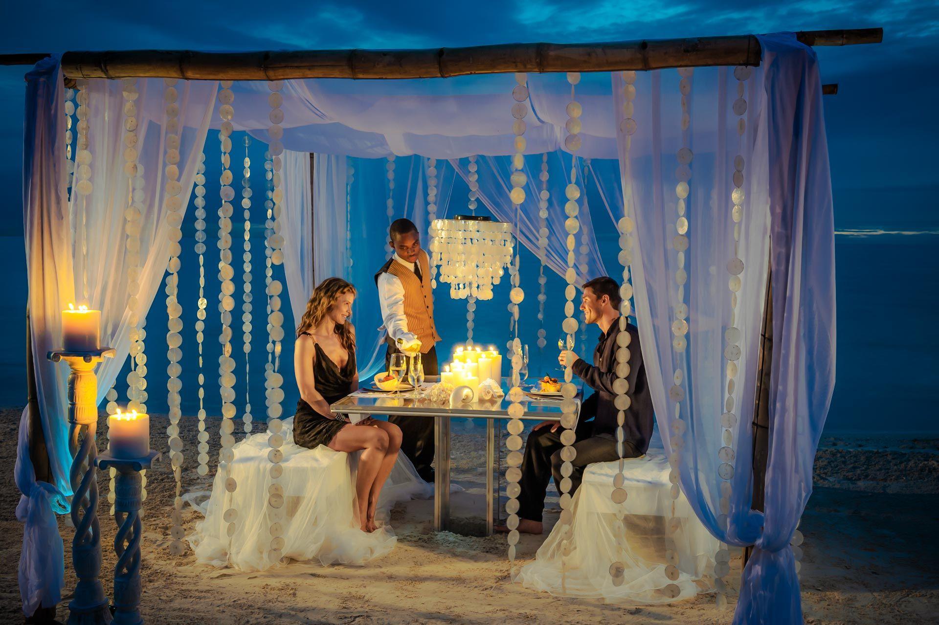 romantic dinner on beach