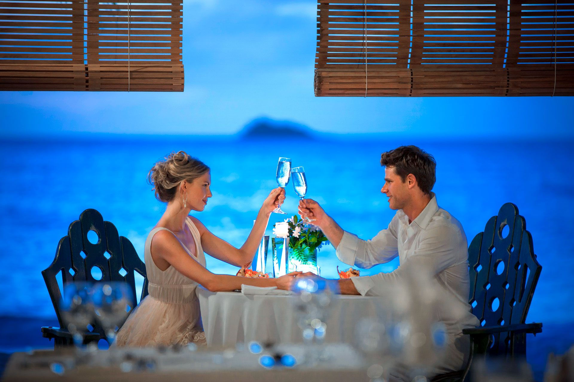 romantic dinner at Sandals Antigua
