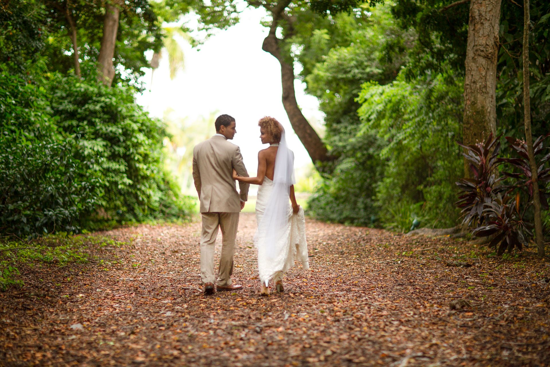 couple eloping in forest