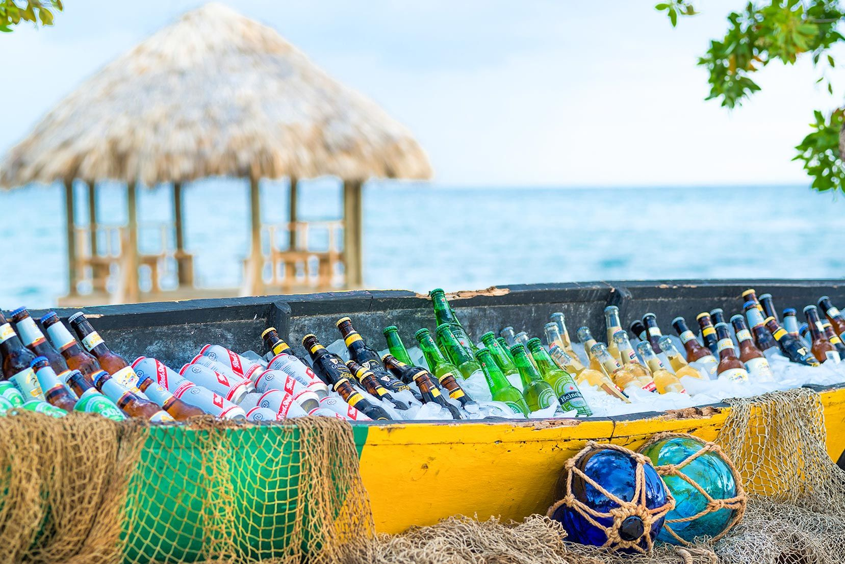 Canoe filled with cold drinks
