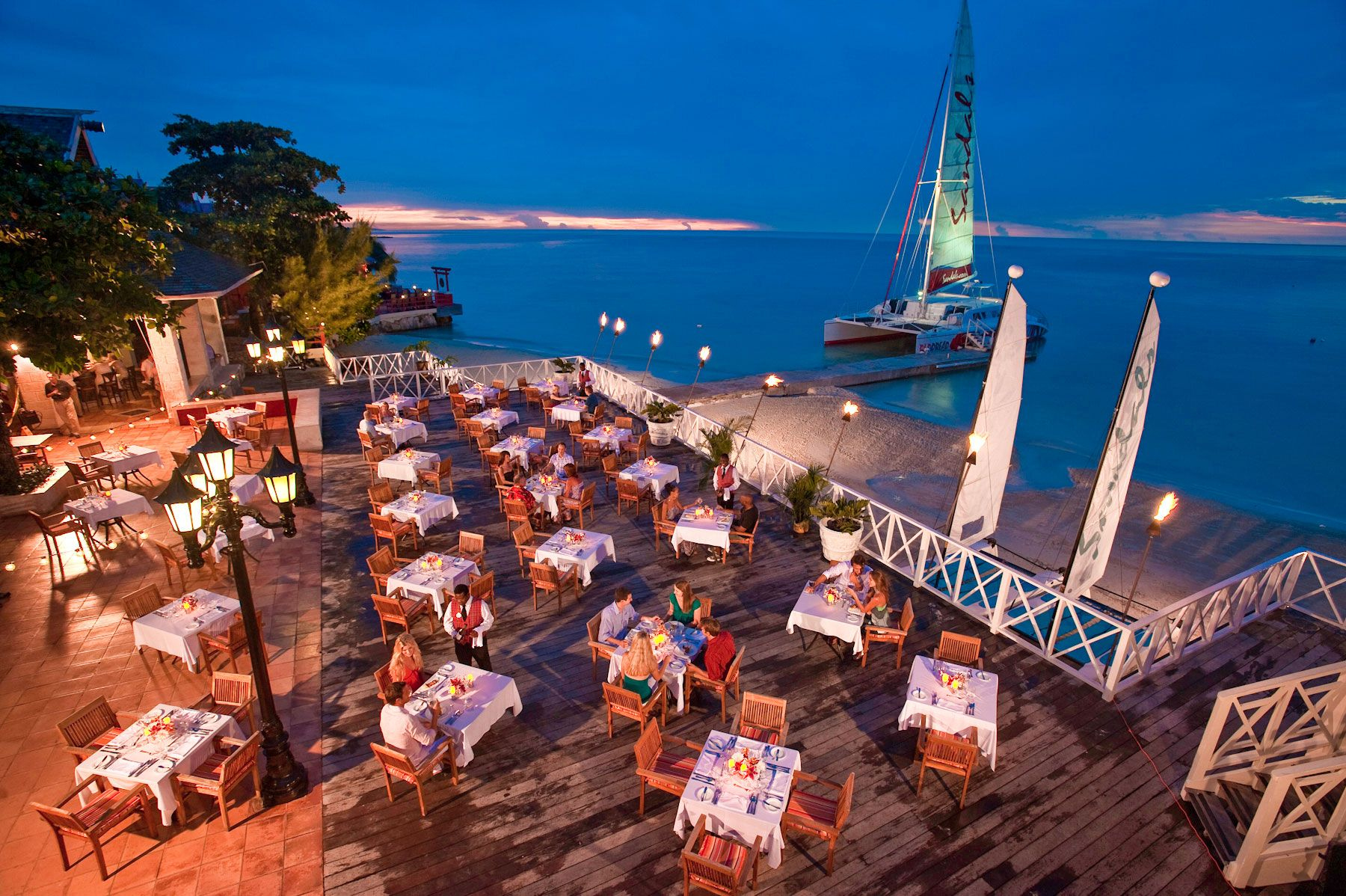 Outdoor restaurant at all-inclusive resort in Montego Bay