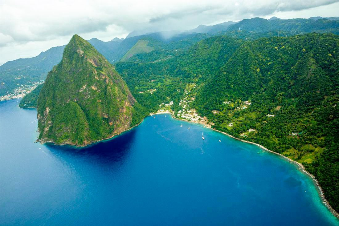 helicopter transfer view st lucia