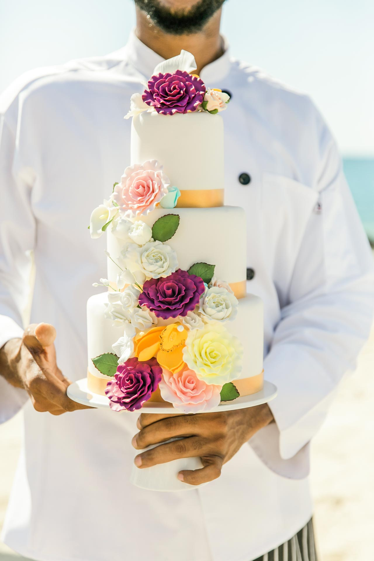 Sandals colorful flower wedding cake