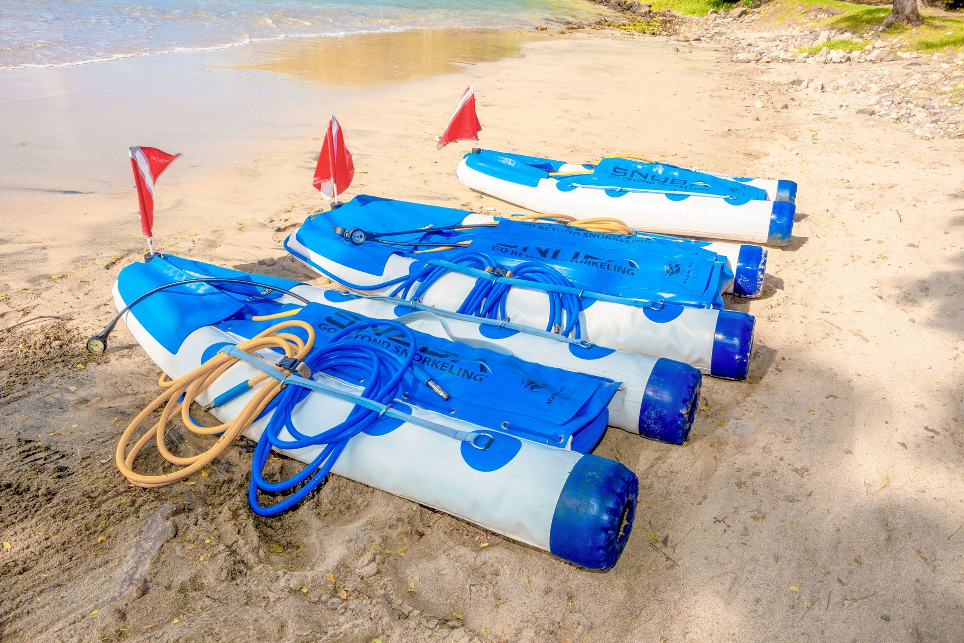 Three SNUBA® rafts on beach