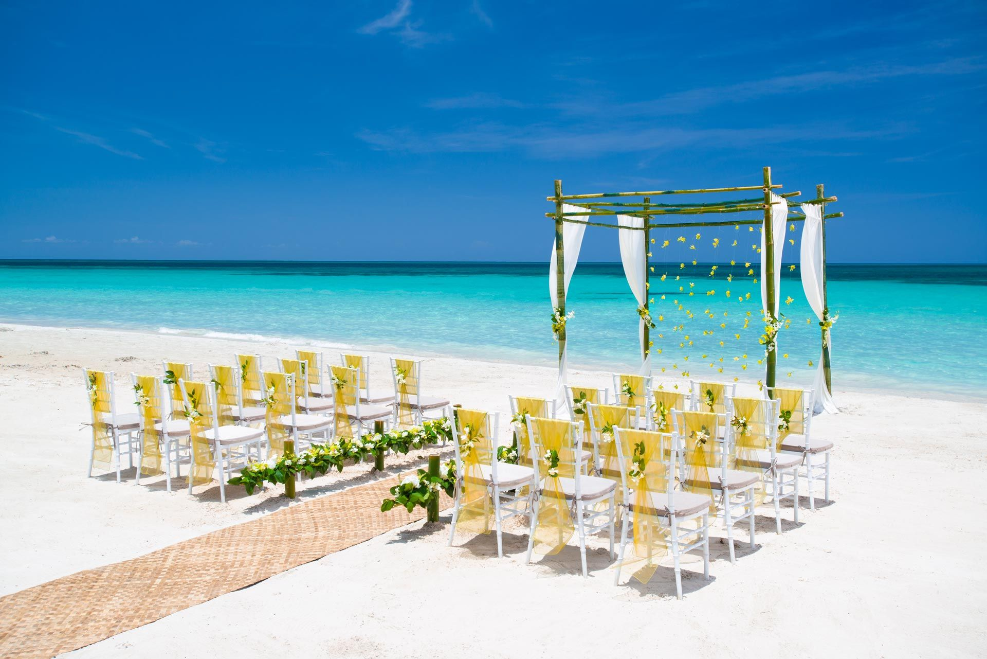 Green and yellow beach wedding
