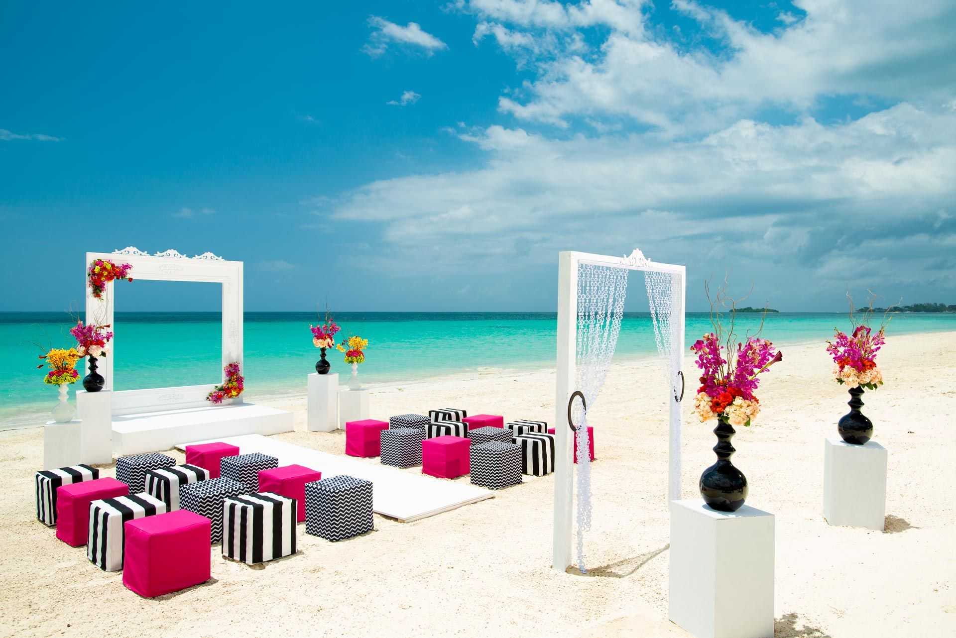 Pink and black beach setting