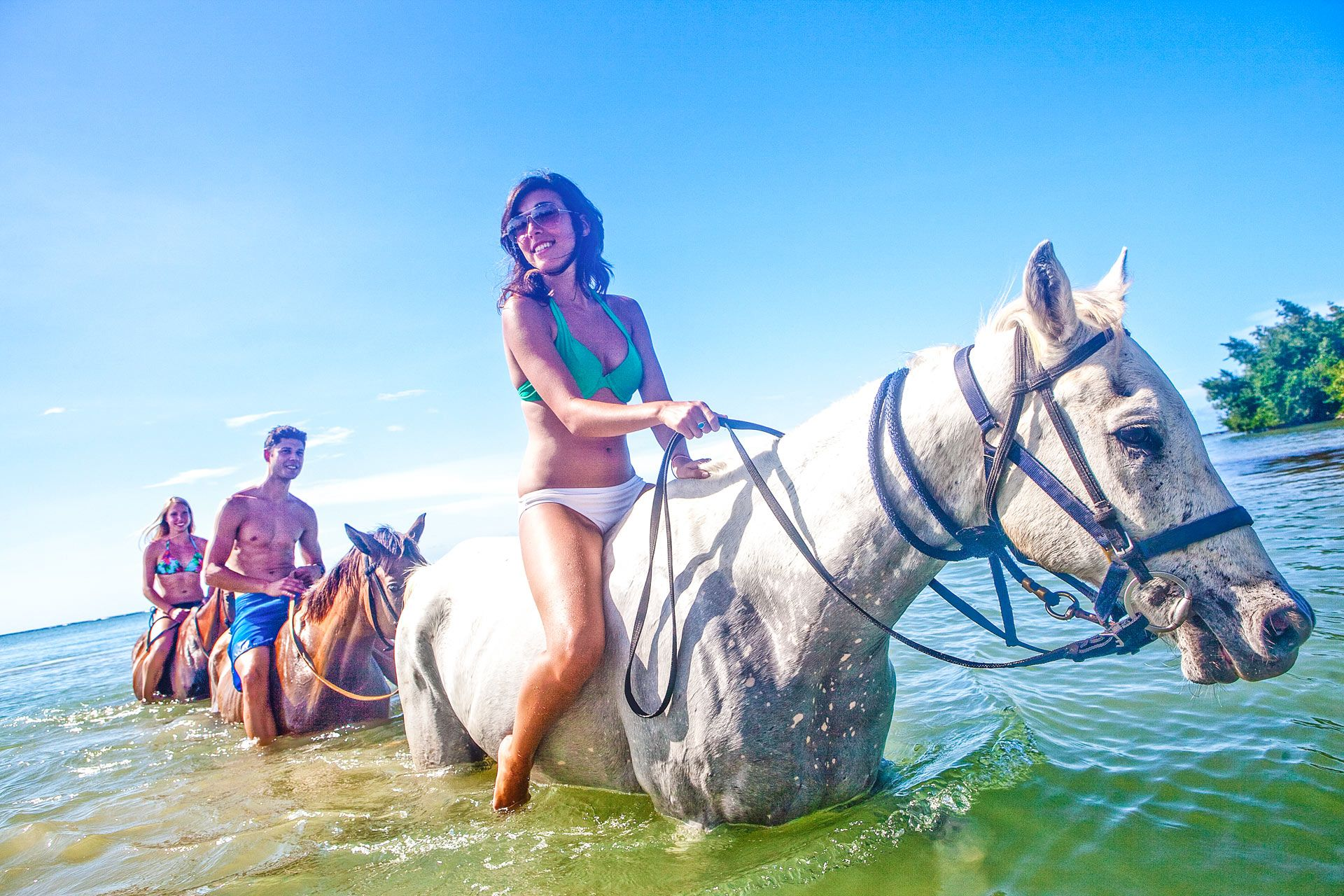 group horseback riding in water