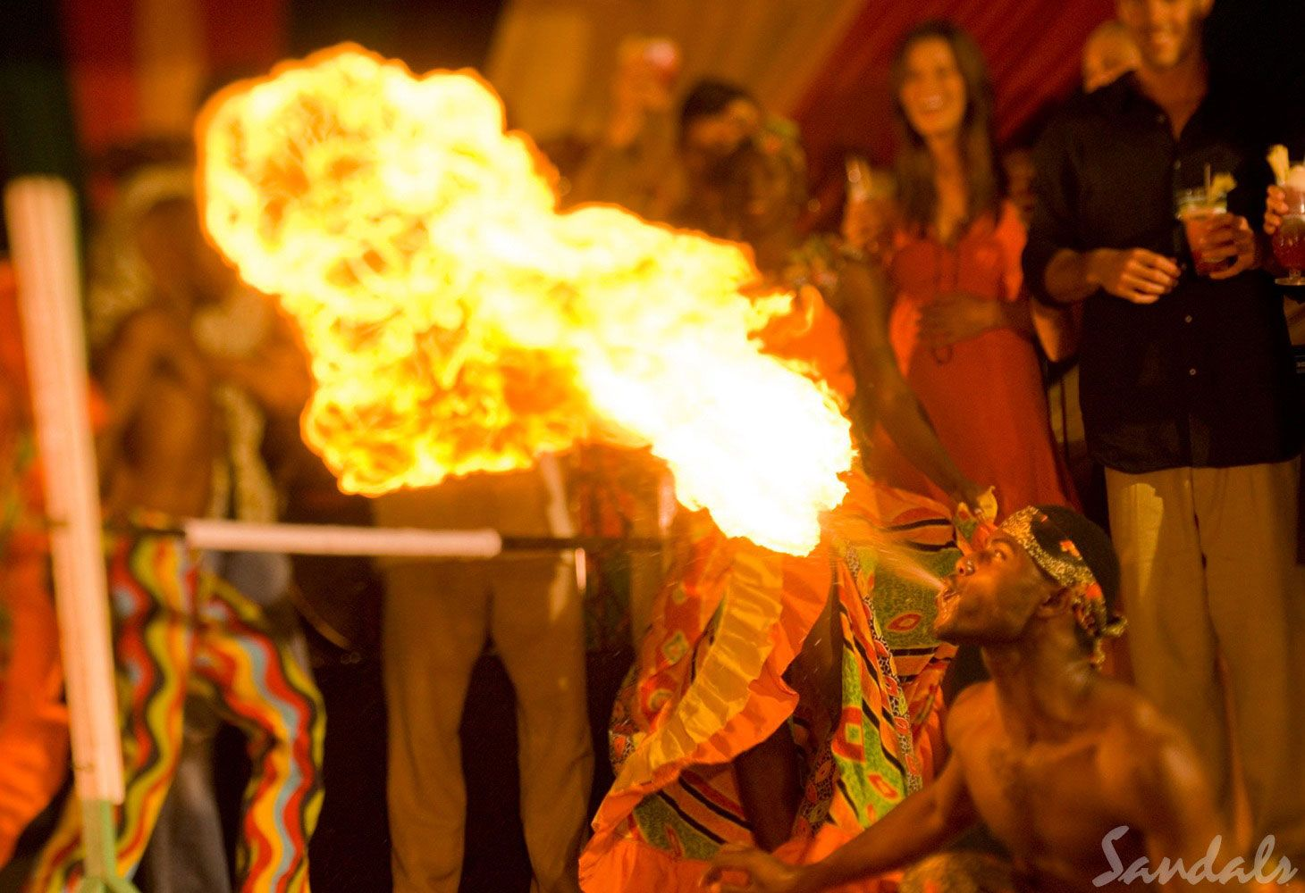 fire show at Sandals resorts