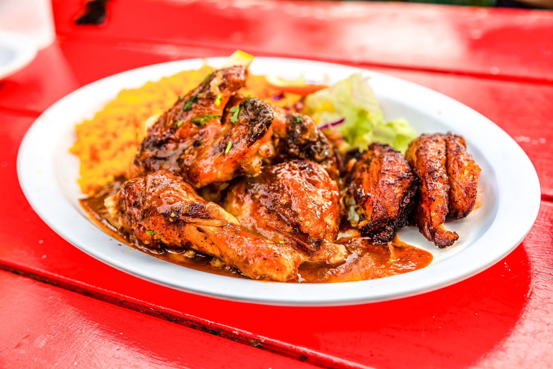 plate of jerk chicken