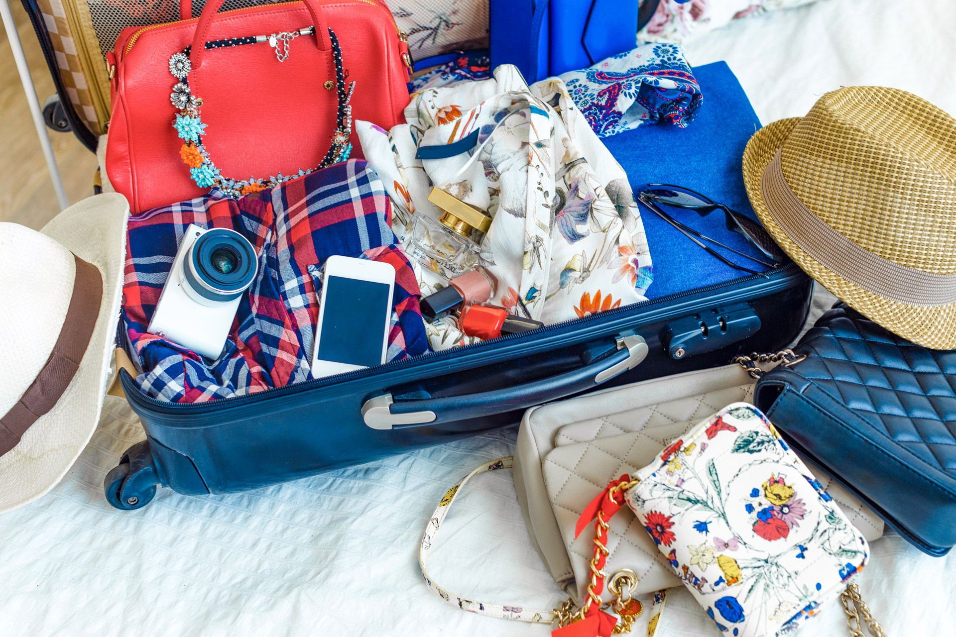 a packed woman's suitcase