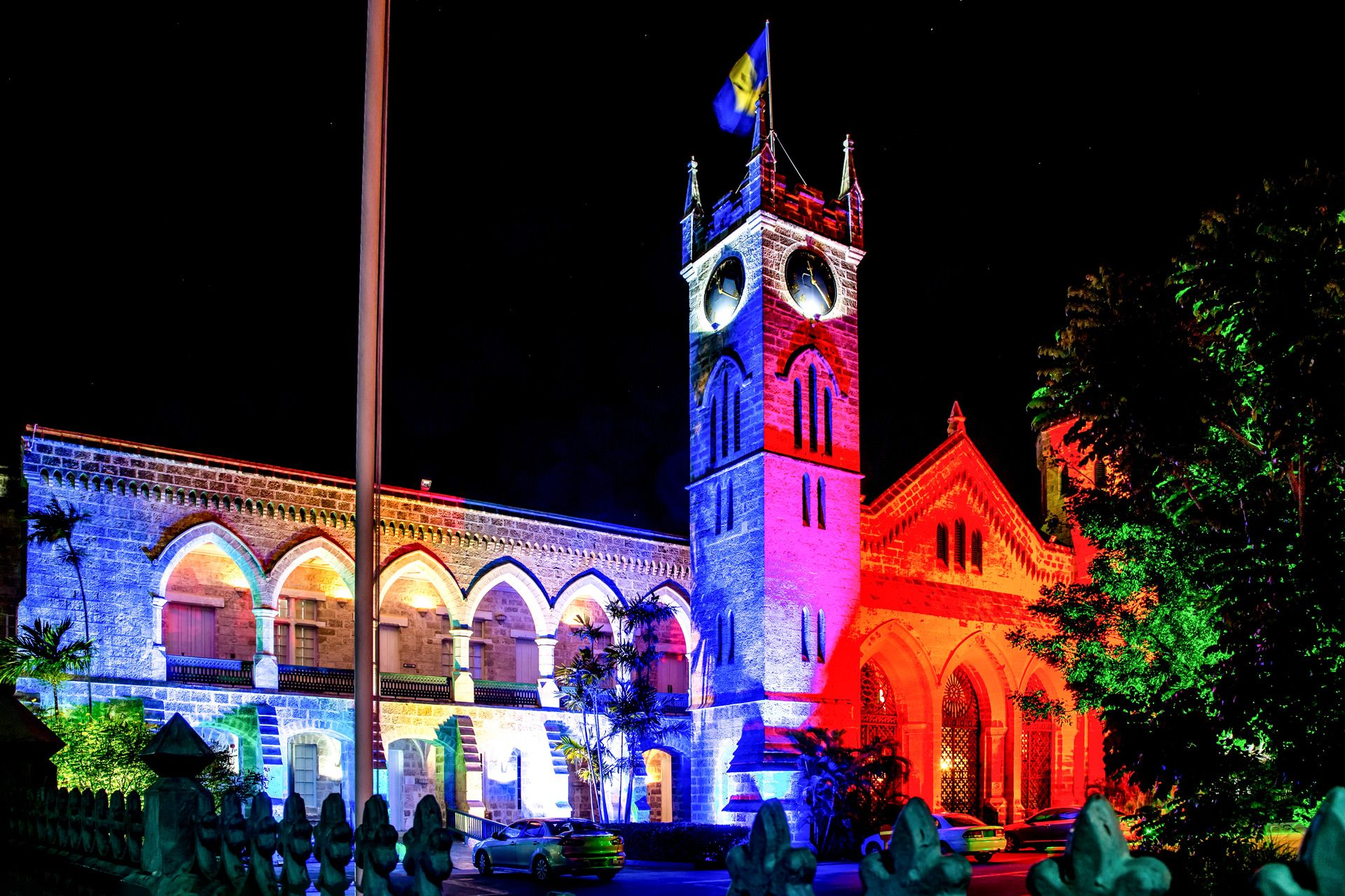 Illuminated parliment building barbados