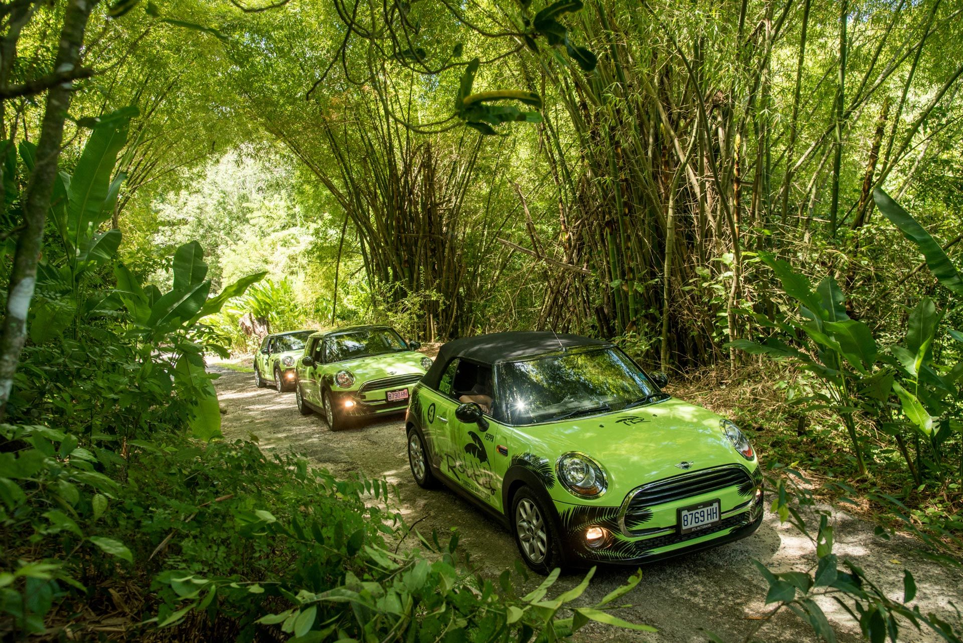 Mini Coopers on their way exploring Ocho Rios