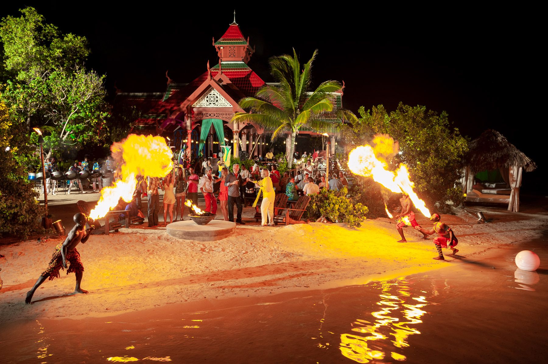 Guests enjoying magical party in front of Thai Restaurant SRC Private Island