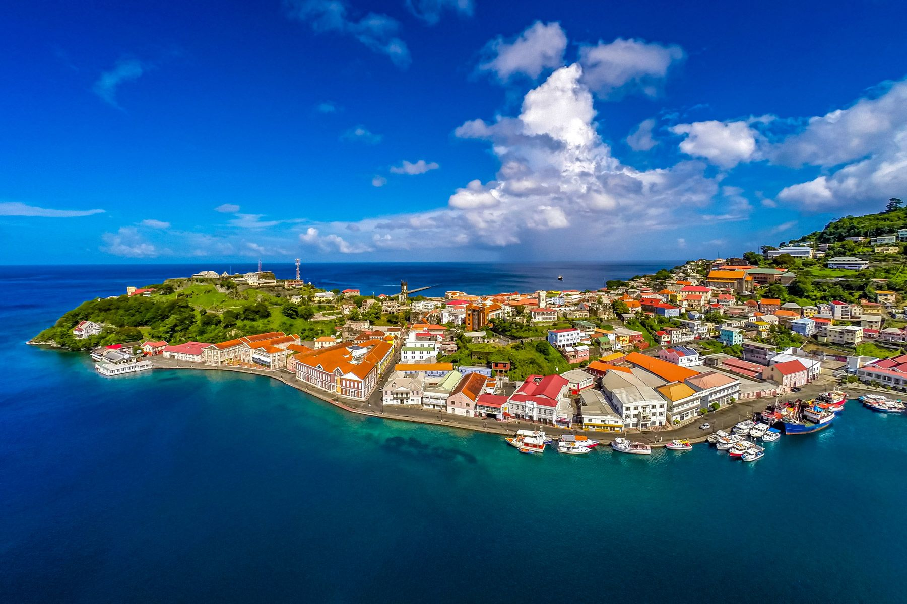 aerial view Saint George Grenada