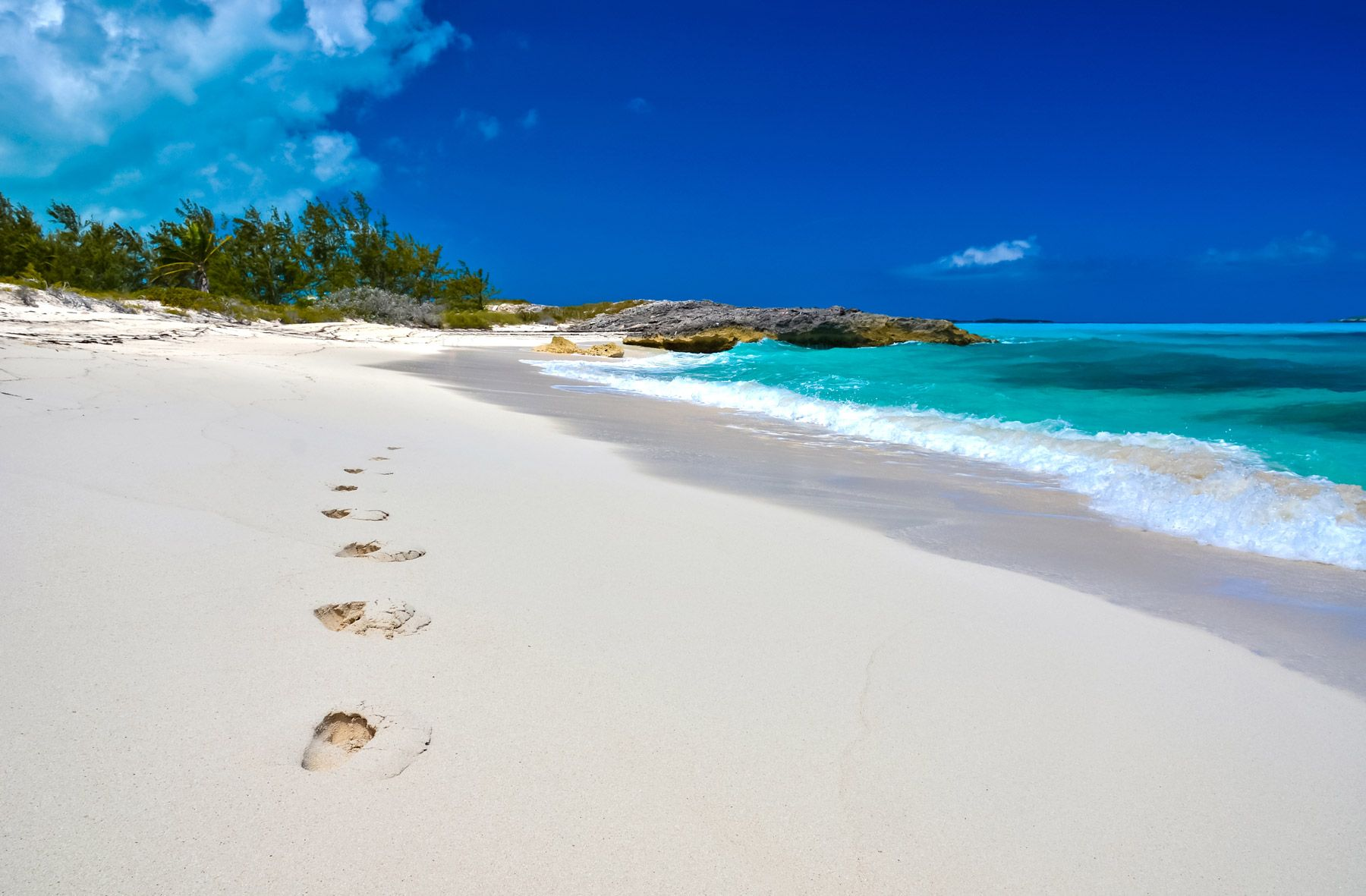 footprints beach little exuma bahamas