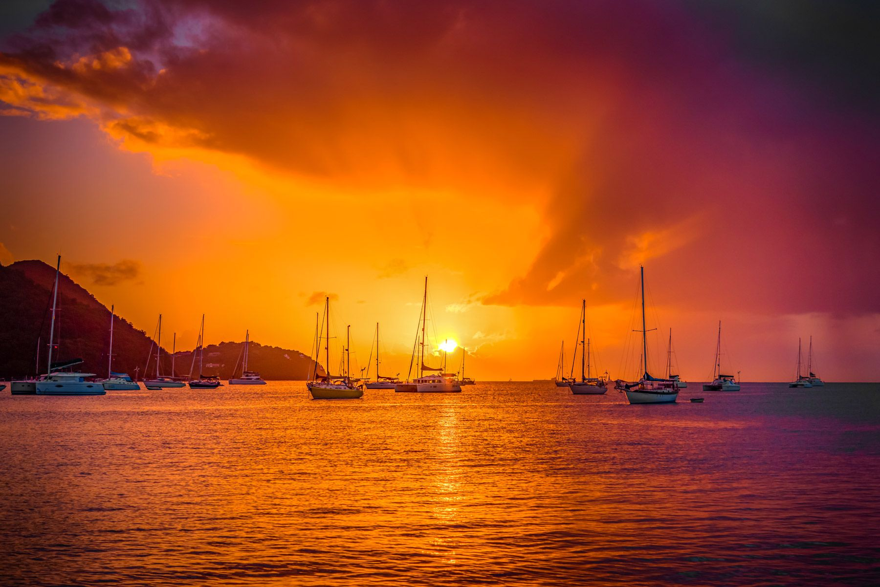 Sunset at Rodney Bay Saint Lucia