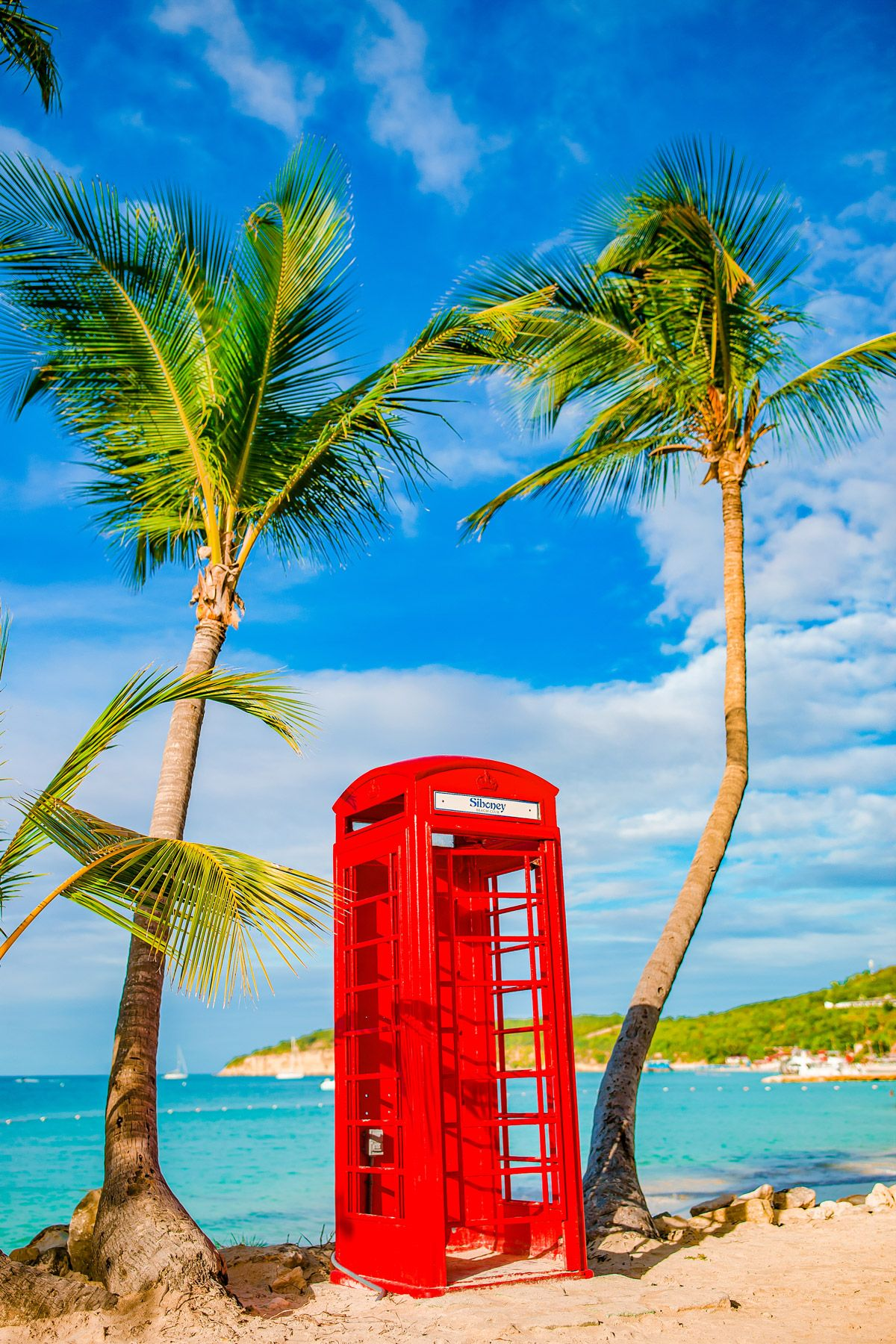 Red phone booth Dickenson Bay Antigua