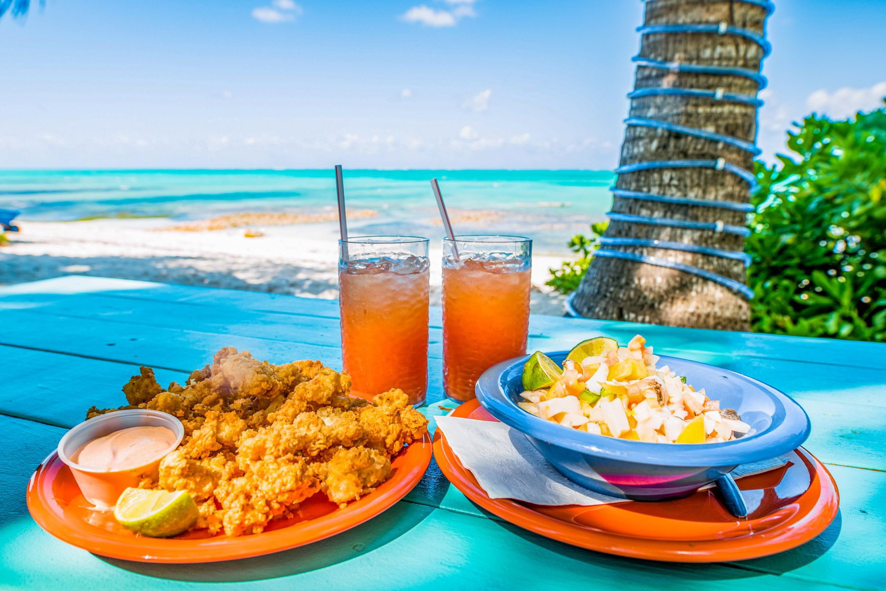 Conch fritters conch salad with punch