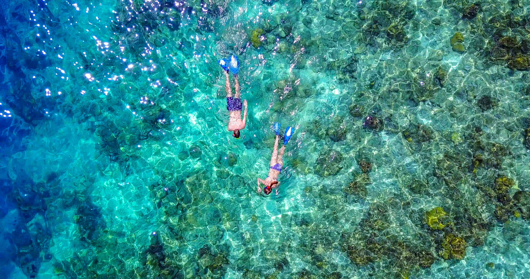 aerial view couple snorkeling