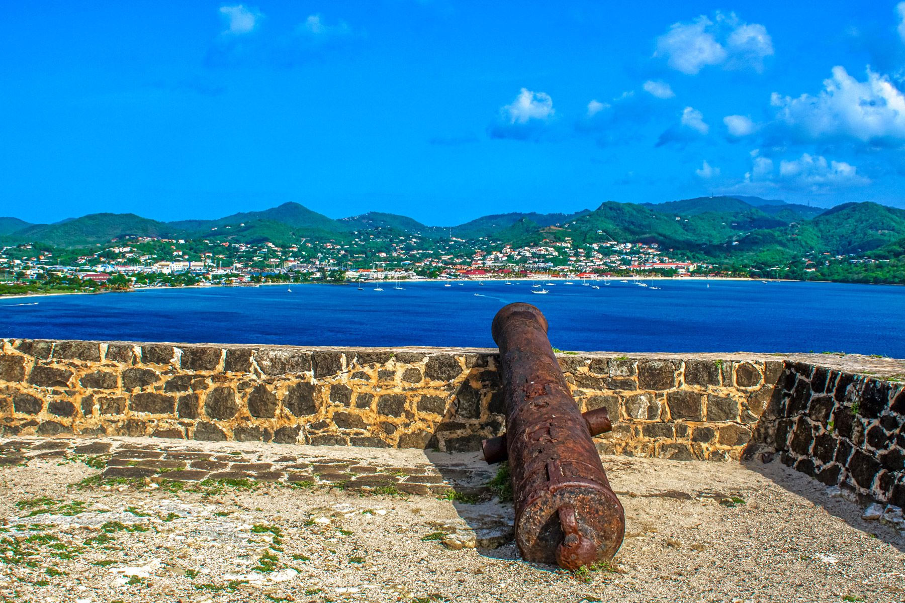 Cannons Fort Pigeon Island View of Rodney Bay