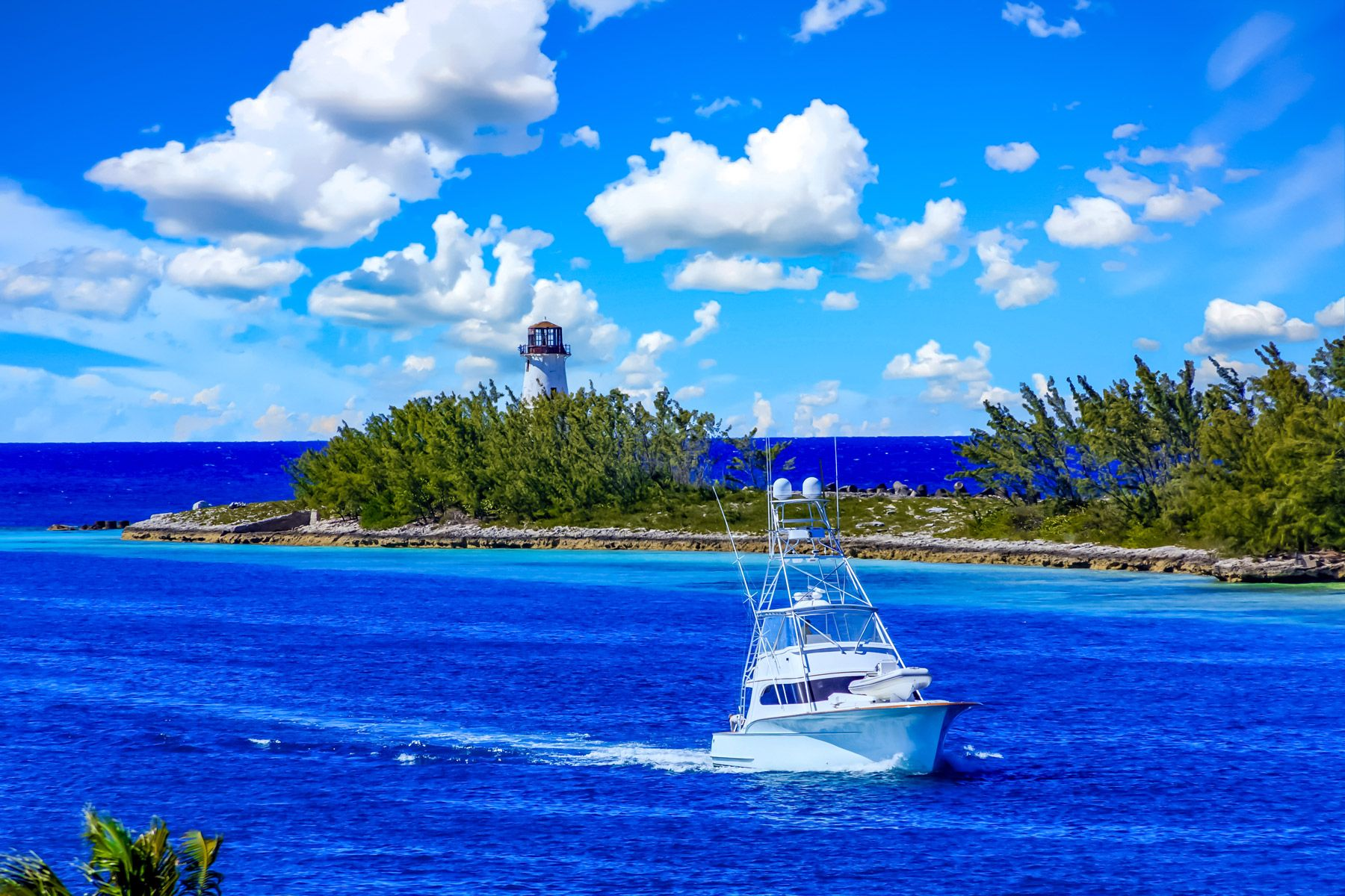 Fishing Boat Lighthouse Bahamas
