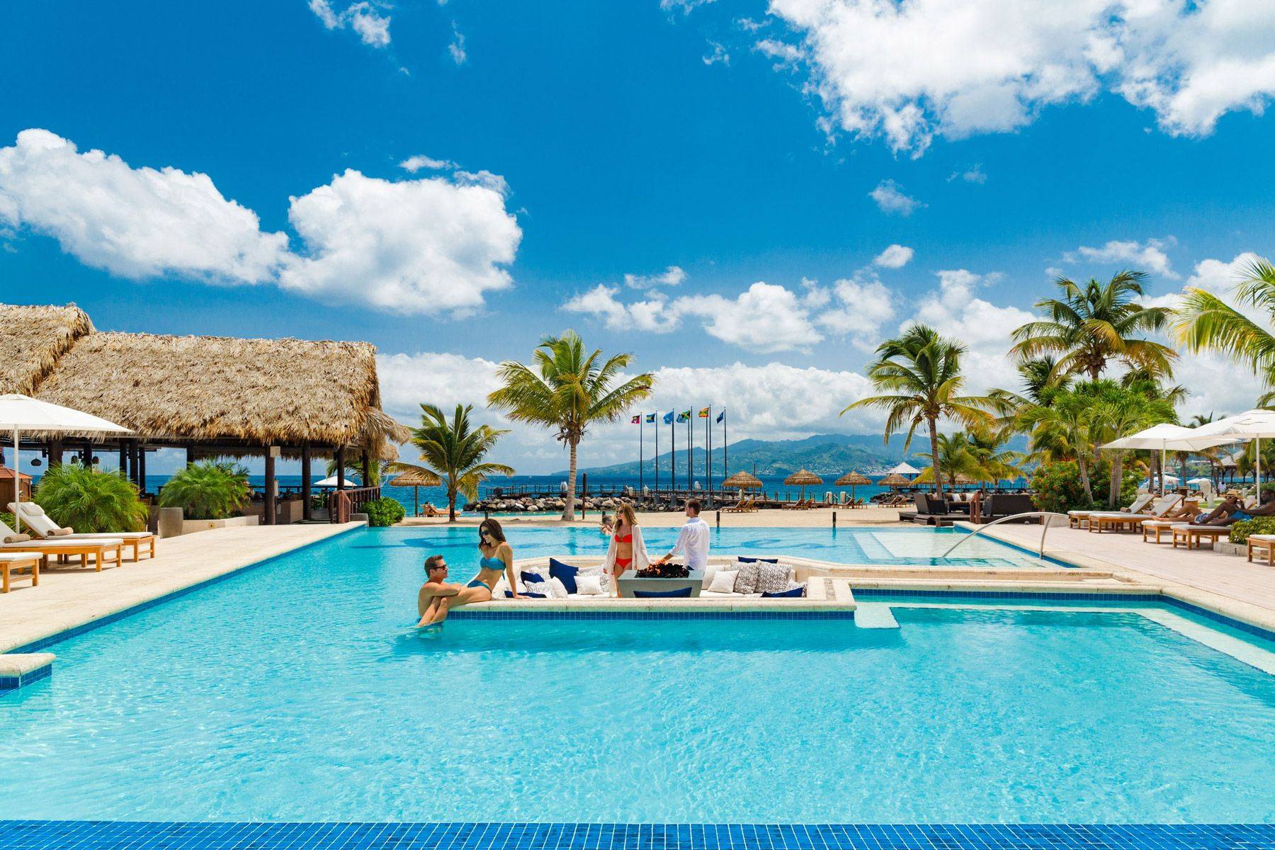 sandals grenada main pool overview