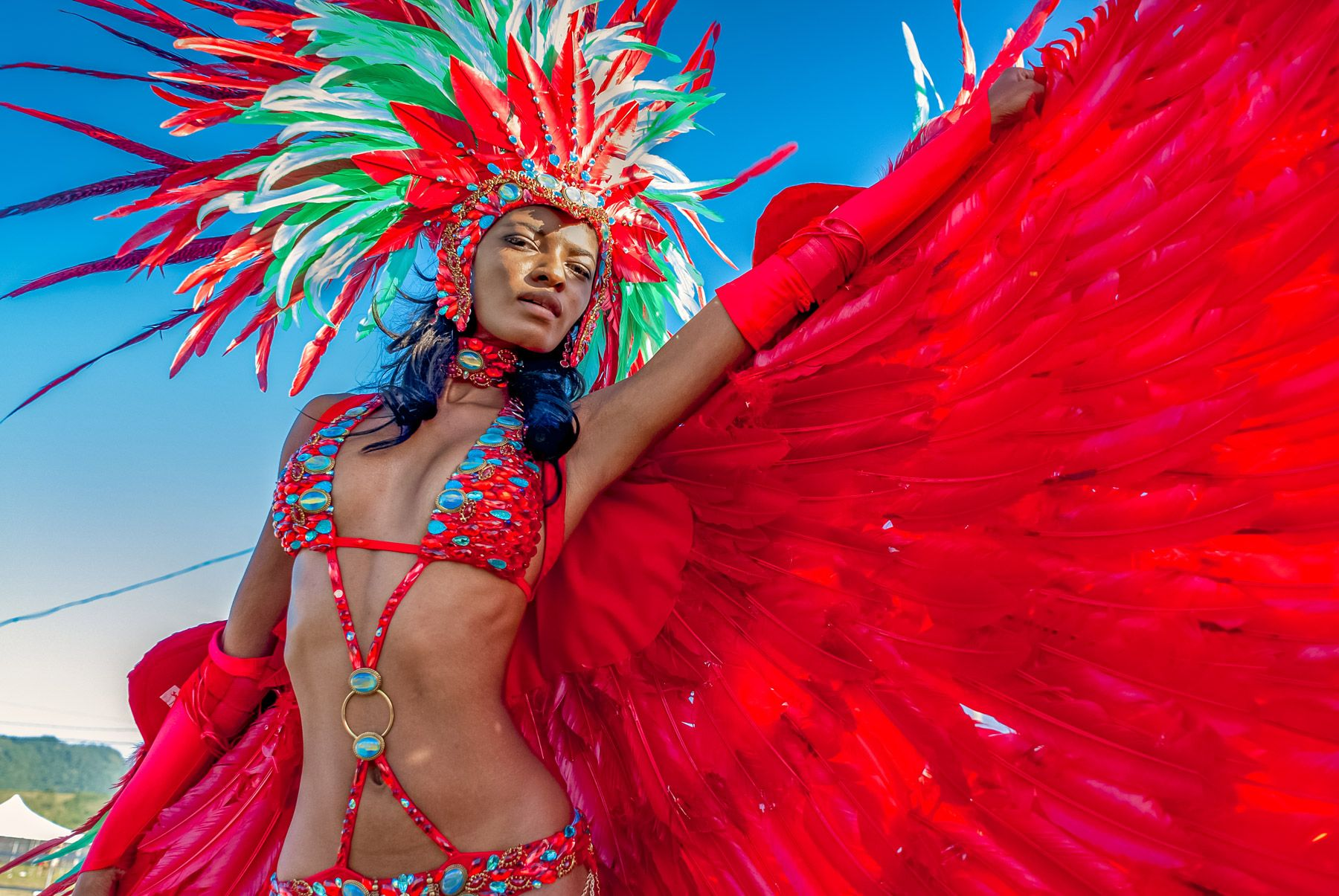female masquerader enjoys parade