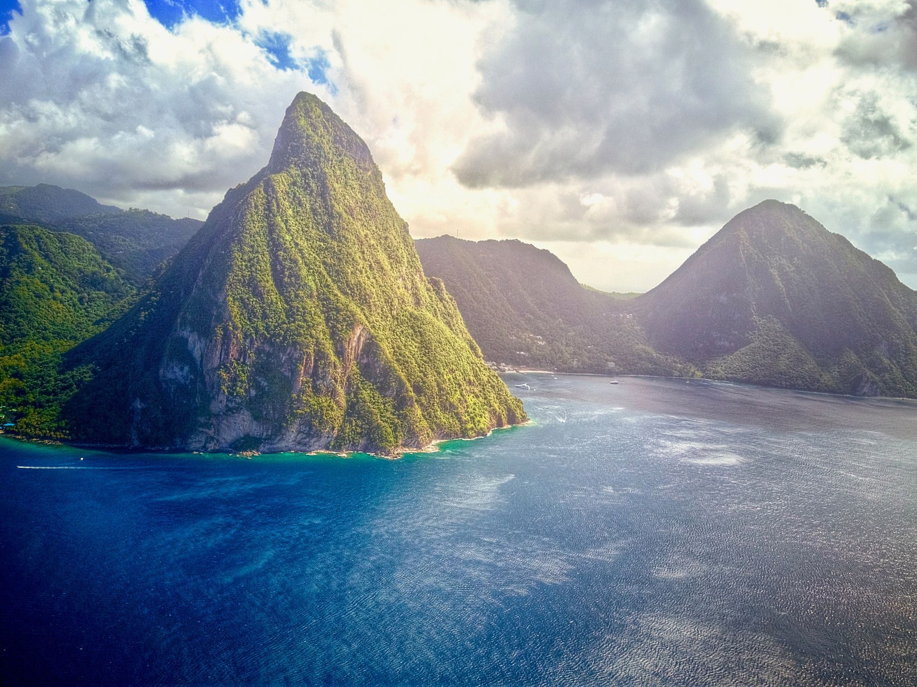 the pitons on the saint lucian coast