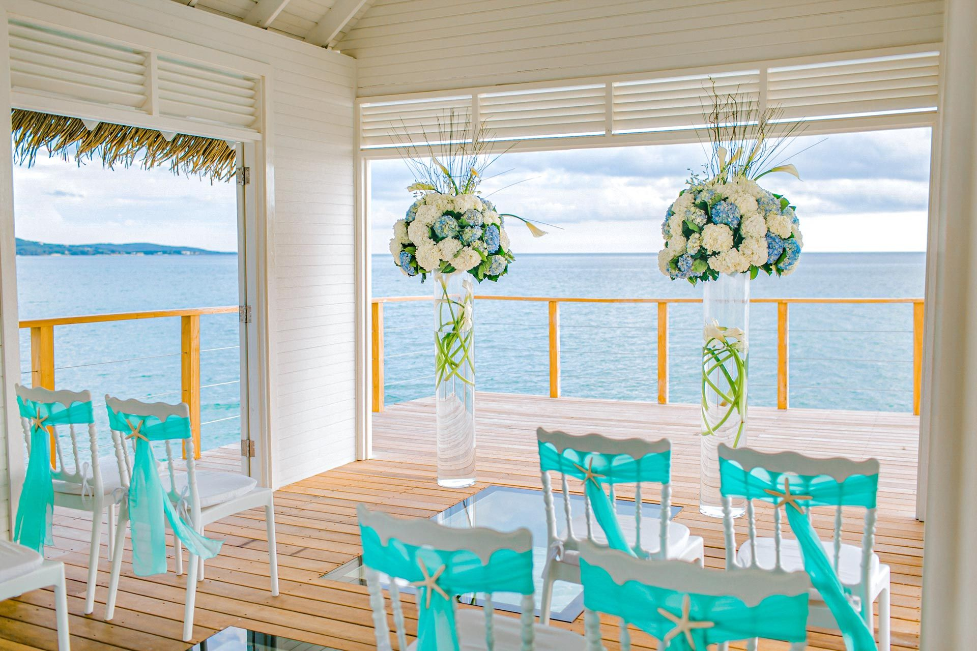 Beach Wedding Detail Over the Water Chapel