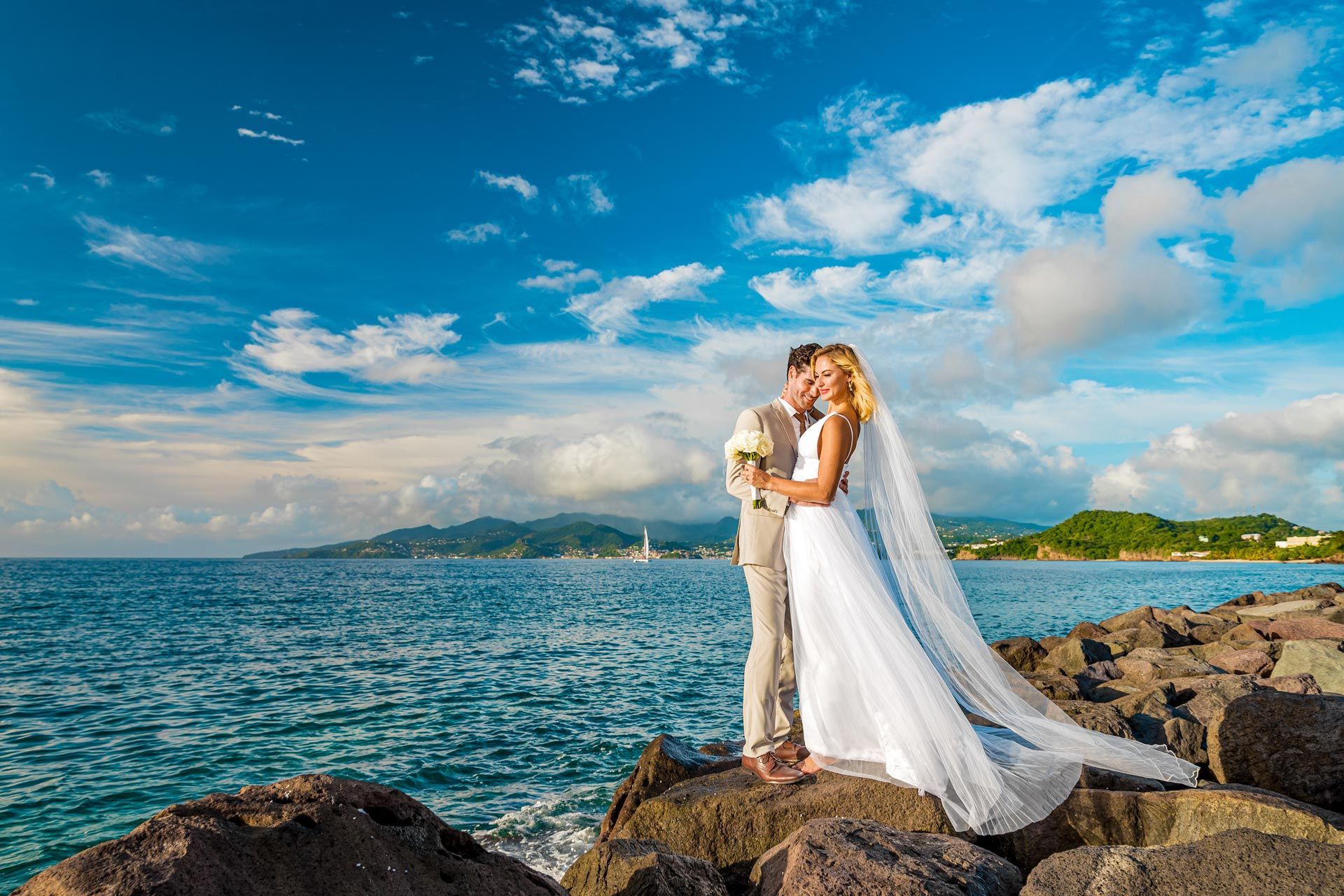 Sandals Grenada Couple Wedding Rocks