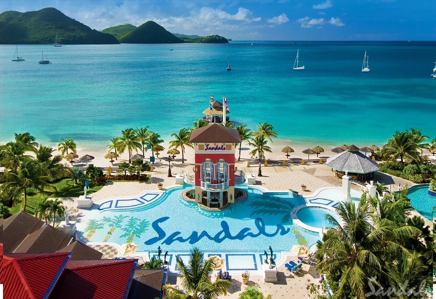 Sandals Grande Saint Lucia Long Beach Pool Aerial