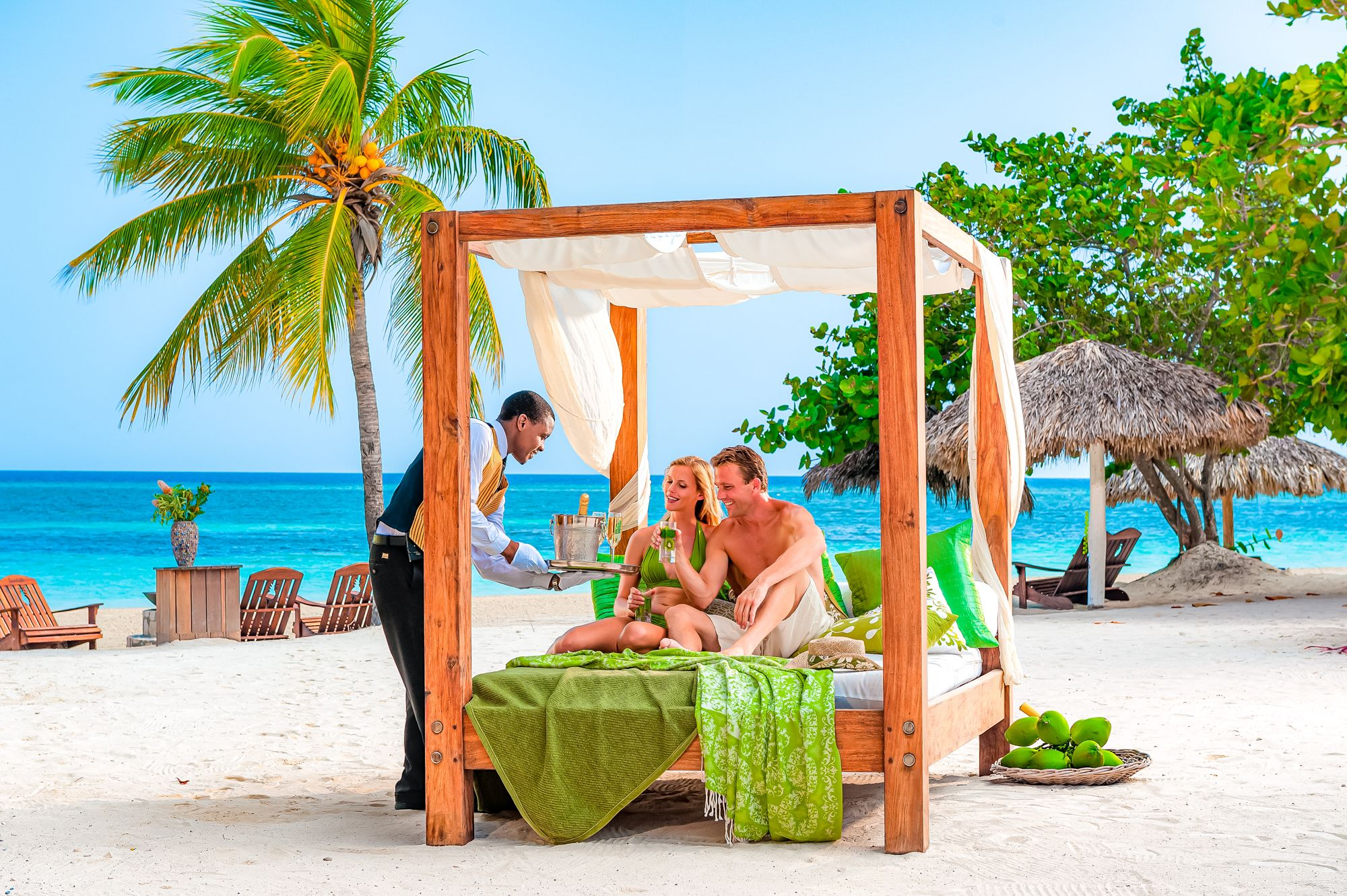 Sandals Montego Bay Couple Beach Lounging