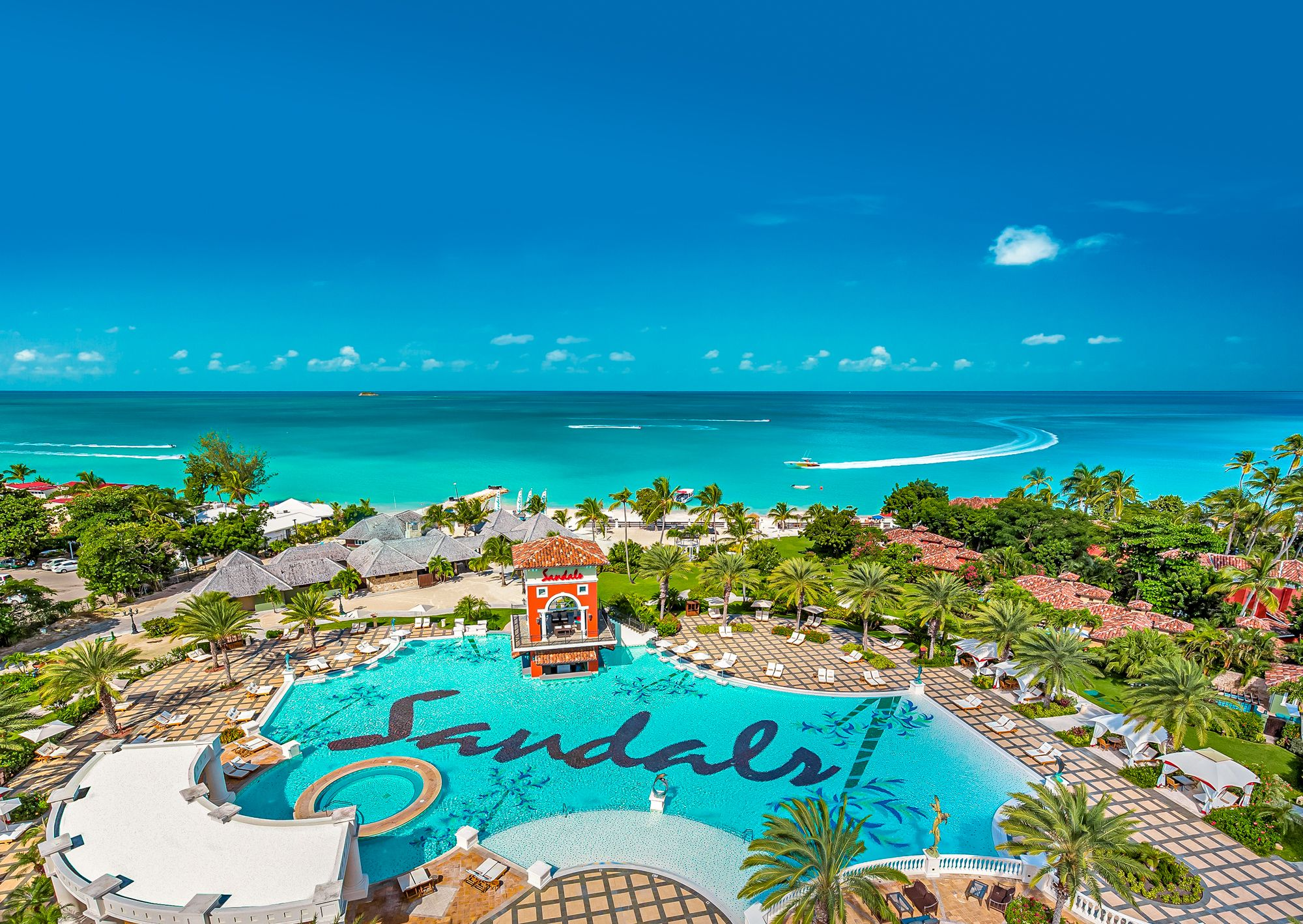 Sandals Grande Antigua Main Pool Overview