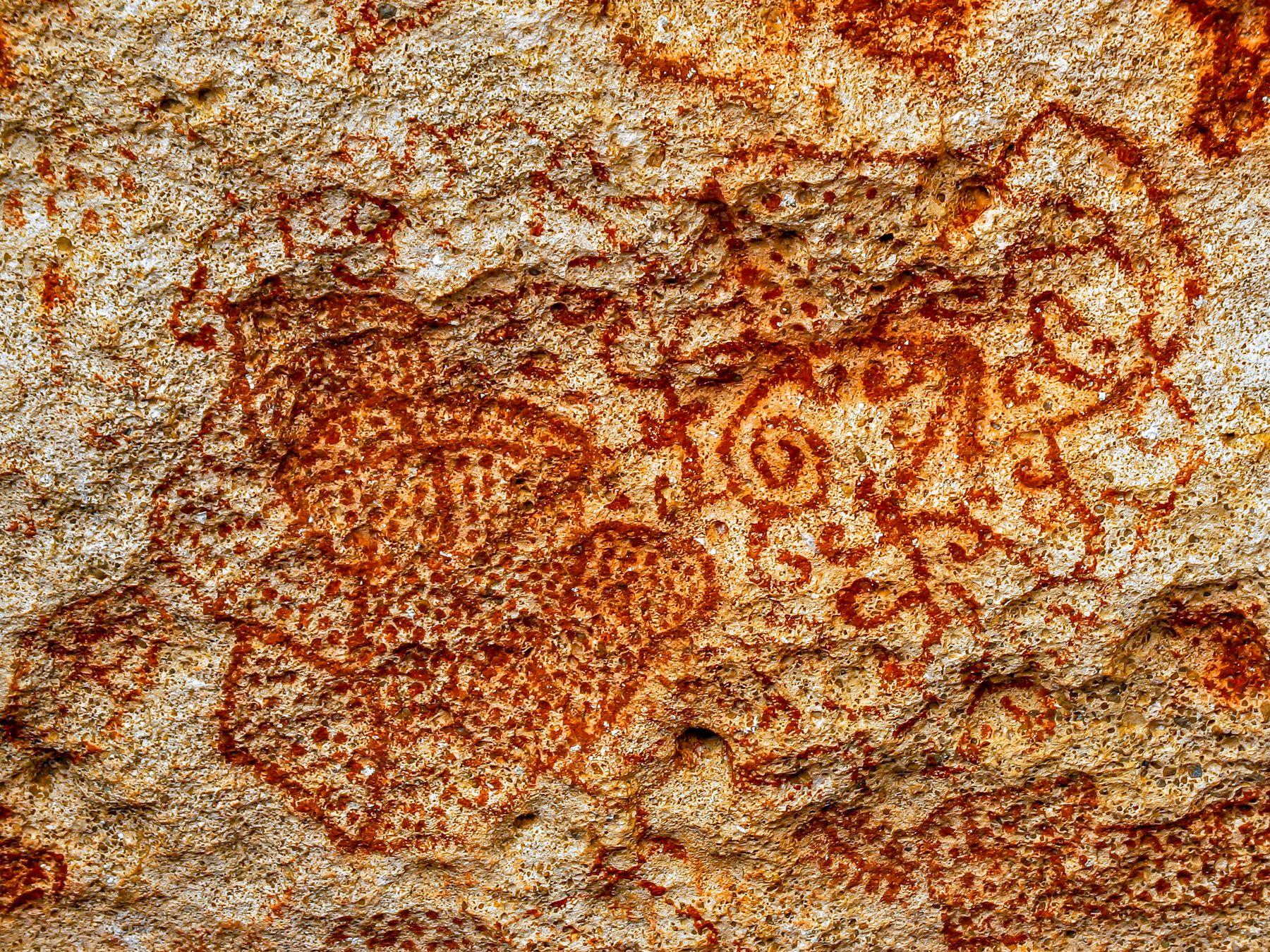 Curacao Arawak rock paintings