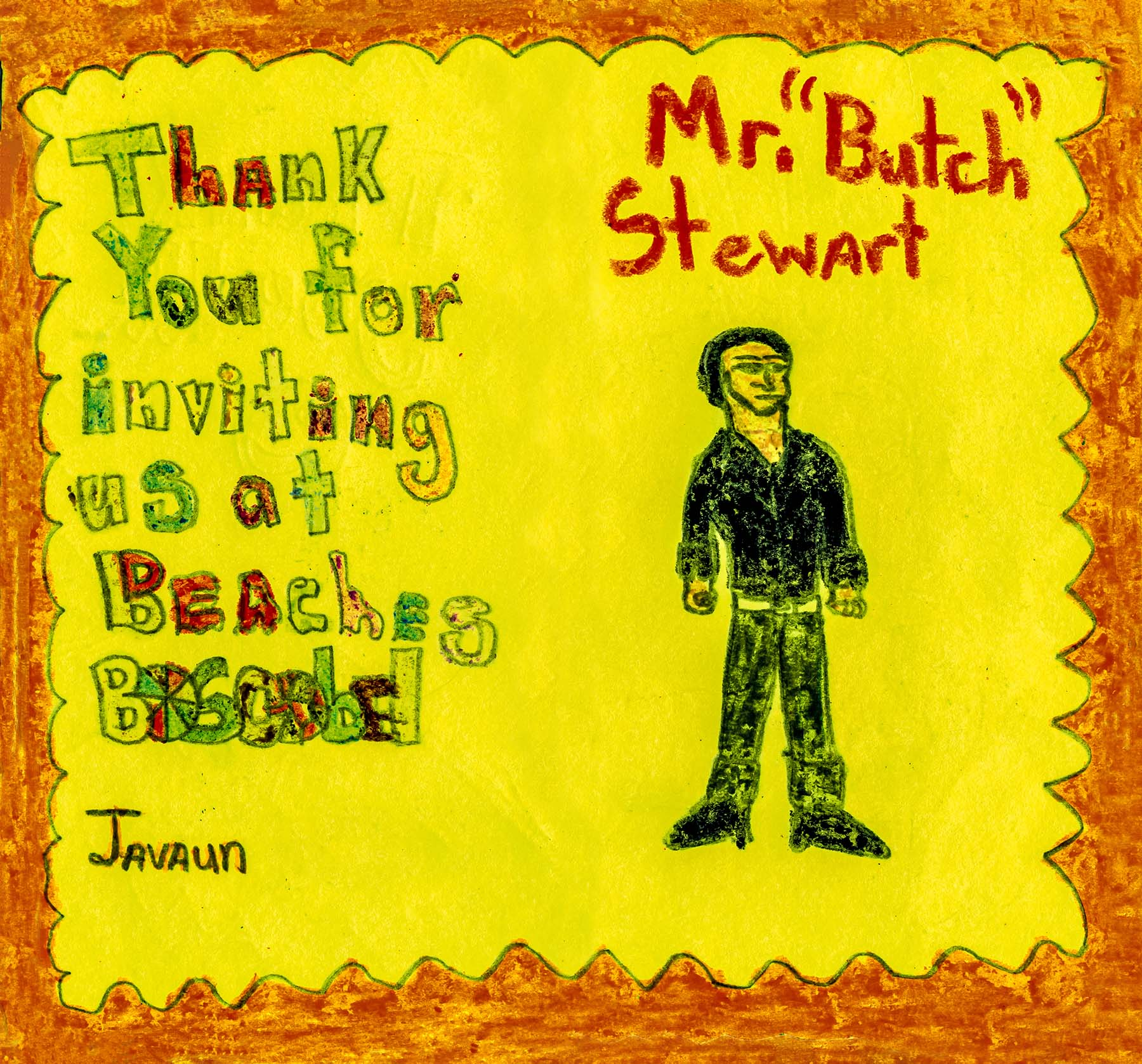 A thank-you card from a young guest to Gordon 'Butch' Stewart